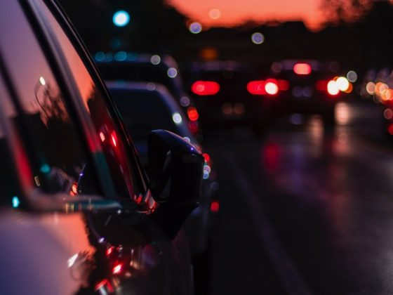 Traffic queue in the evening