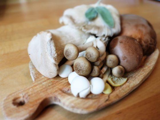 Fungi selection on kitchen board